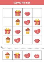 Sudoku puzzle with cute cartoon valentine objects. Logical game for kids. vector