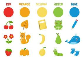 Collection of primary colors. Learning colors. Colorful objects and animals. vector