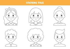 Página para colorear con avatares de niñas y niños. vector