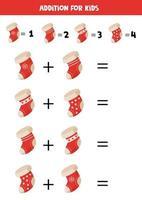 Addition of Christmas socks for kids. Math game. vector