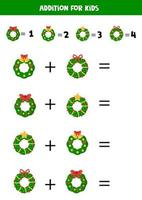 Math addition with Christmas wreaths. Game for kids. vector