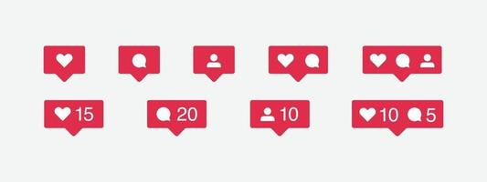 Social media icon and notification set vector