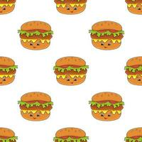 Seamless burger food pattern vector
