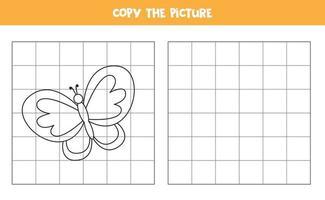 copia la imagen. mariposa de dibujos animados lindo. juego de lógica para niños. vector