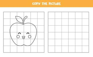 Copy the picture. Cute cartoon apple. Logical game for kids. vector