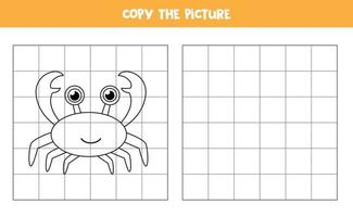 Copy the picture. Cute cartoon crab. Logical game for kids. vector