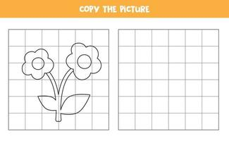 Copy the picture. cartoon flower. Logical game for kids. vector