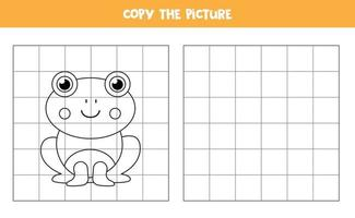 Copy the picture. Cute frog. Logical game for kids. vector