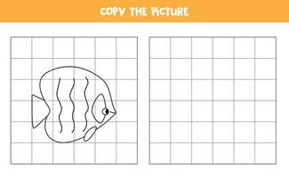 Copy the picture. Cartoon fish. Logical game for kids. vector