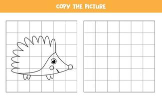 Copy the picture. Cartoon hedgehog. Logical game for kids. vector