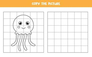 Copy the picture. Cute cartoon jelly fish. Logical game for kids. vector