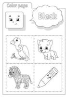 Coloring book black. Learning colors. Flashcard for kids. Cartoon characters. Picture set for preschoolers. Education worksheet. Vector illustration.