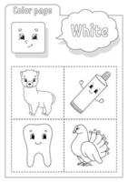 Coloring book white. Learning colors. Flashcard for kids. Cartoon characters. Picture set for preschoolers. Education worksheet. Vector illustration.