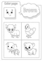 Coloring book brown. Learning colors. Flashcard for kids. Cartoon characters. Picture set for preschoolers. Education worksheet. Vector illustration.
