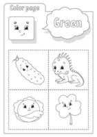 Coloring book green. Learning colors. Flashcard for kids. Cartoon characters. Picture set for preschoolers. Education worksheet. Vector illustration.