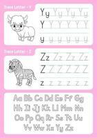 escribir letras y, z. página de seguimiento. hoja de trabajo para niños. hoja de práctica. aprender el alfabeto. personajes lindos. ilustración vectorial. estilo de dibujos animados. vector