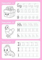 escribir letras g, h, i. página de seguimiento. hoja de trabajo para niños. hoja de práctica. aprender el alfabeto. personajes lindos. ilustración vectorial. estilo de dibujos animados. vector