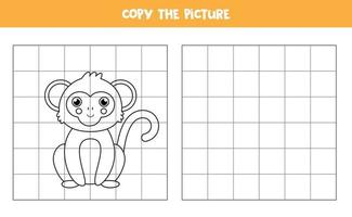 Copy the picture. Cute monkey. Logical game for kids. vector