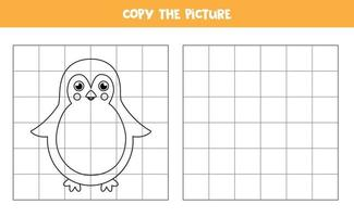 Copy the picture. Cute penguin. Logical game for kids. vector