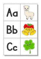 alfabeto inglés con personajes de dibujos animados a, b, c. tarjetas de memoria flash. conjunto de vectores. estilo de color brillante. aprender abc. letras minúsculas y mayúsculas. vector