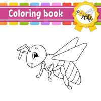 libro para colorear para niños abeja. carácter alegre. ilustración vectorial. estilo de dibujos animados lindo. silueta de contorno negro. aislado sobre fondo blanco. vector