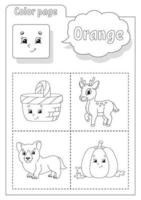 Coloring book orange. Learning colors. Flashcard for kids. Cartoon characters. Picture set for preschoolers. Education worksheet. Vector illustration.