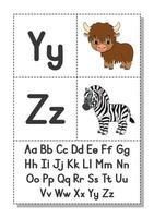 alfabeto inglés con personajes de dibujos animados y, z. tarjetas de memoria flash. conjunto de vectores. estilo de color brillante. aprender abc. letras minúsculas y mayúsculas.