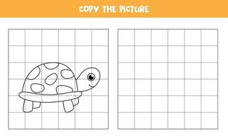 Copy picture of cute turtle. Educational game for kids. vector
