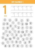 puntear o colorear todos los números 1. juego educativo. vector