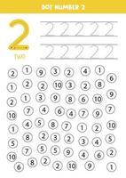 Encuentra y colorea el número 2. Juego de matemáticas para niños. vector