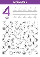 puntear o colorear todos los números 4. juego educativo. vector