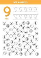 encuentra y puntea el número 9. Juego de matemáticas para niños. vector