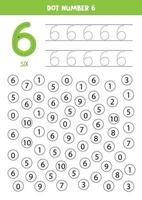 encuentra y puntea el número 6. Juego de matemáticas para niños. vector