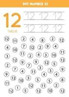 Find and color number 12. Math game for kids. vector