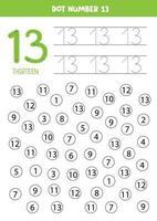 encuentra y puntea el número 13. Juego de matemáticas para niños. vector