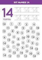 Dot or color all numbers 14. Educational game. vector
