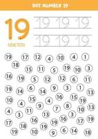 puntee o coloree todos los números 19. juego educativo. vector