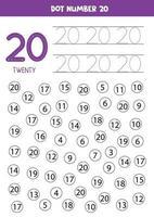 encuentra y colorea el número 20. Juego de matemáticas para niños. vector