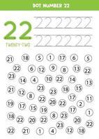 encuentra y colorea el número 22. Juego de matemáticas para niños. vector