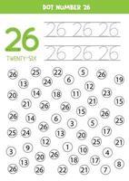 encuentra y colorea el número 26. juego de matemáticas para niños. vector