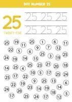 puntear o colorear todos los números 25. juego educativo. vector