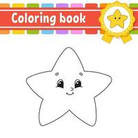Coloring book for kids with star. Cheerful character. Vector illustration. Cute cartoon style. Black contour silhouette. Isolated on white background.