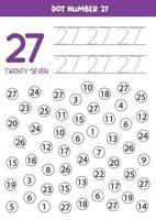 Encuentra y puntúa el número 27. Juego de matemáticas para niños. vector