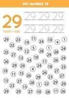 encuentra y colorea el número 29. juego de matemáticas para niños. vector