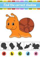 Find the correct shadow snail. Education developing worksheet. Activity page. Color game for children. Isolated vector illustration. Cartoon character.