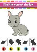 Find the correct shadow rabbit. Education developing worksheet. Activity page. Color game for children. Isolated vector illustration. Cartoon character.