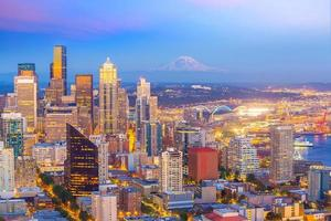 Seattle city downtown skyline cityscape in Washington State,  USA