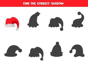 Find shadow of Christmas cartoon hat. Logical game. vector