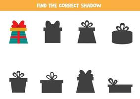 Find the right shadow of Christmas present. vector