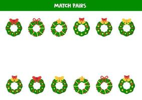 Match pairs of Christmas wreaths. Game for kids. vector